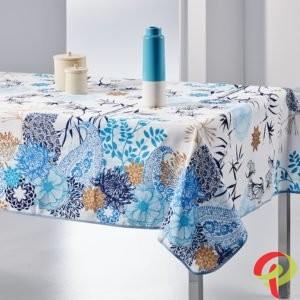 Nappe rectangulaire anti tâche – Mélange de Fleurs et Feuilles Bleues Nappe rectangulaire bleu