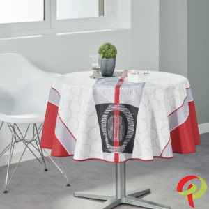 Nappe ronde anti tâche –  Moderne rouge et blanche Nappe ronde Nappe
