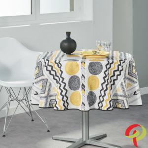 Nappe ronde anti tâche – Losanges et Cercles jaunes Nappe ronde Nappe