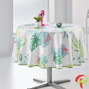 Nappe ronde anti tâche –  Flamant rose et vert Nappe ronde Nappe